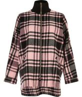 River Island Womens Pink check zip turtleneck shacket