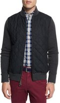 Peter Millar Ribbed Knit & Quilted Bomber Jacket