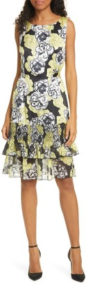 DYVNA Chacha Ruffle Floral Silk Dress