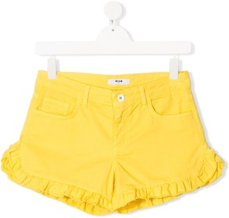 Msgm Kids TEEN plain ruffle trim shorts