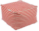Classic Red & White Striped Cube Ottoman