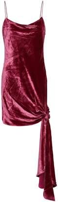 Cinq à Sept Knotted Draped Velvet Mini Dress