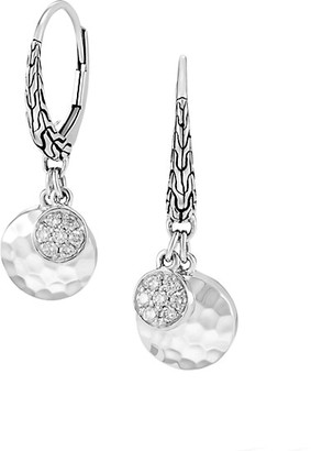 John Hardy Dot Hammered Silver & Pave Diamond Drop Earrings