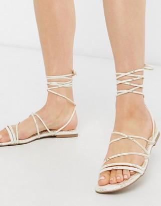 Miss Selfridge snake print strappy sandals in white shimmer