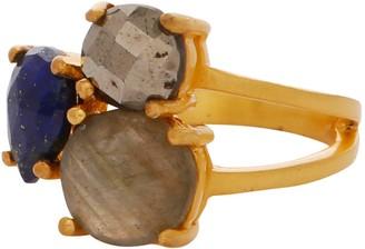 Carousel Jewels Intricate Lapis and Labradorite Cocktail Ring