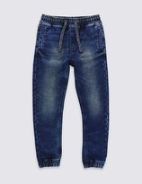 Marks and Spencer Cotton Rich Adjustable Waistband Denim Joggers (5-14 Years)