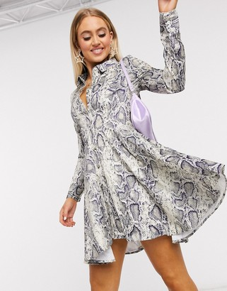 UNIQUE21 high low hem shirt dress in snake