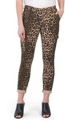Juniors Leopard Roll Cuff Cargo Pants
