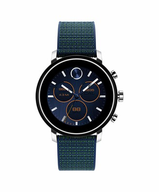 Movado Connect 2.0 Unisex Powered with Wear OS by Google Stainless Steel and Navy Velcro Fabric Smartwatch