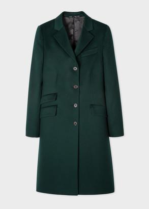 Women's Dark Green Four-Button Wool-Cashmere Epsom Coat