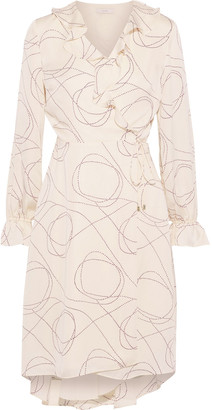 Joie Lynley Ruffle-trimmed Printed Crepe De Chine Wrap Dress