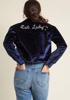Miss Patina Feline Pride Cropped Velvet Jacket in M