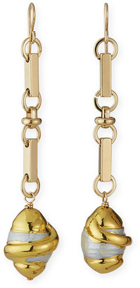 Devon Leigh Pearl Chain Dangle Earrings