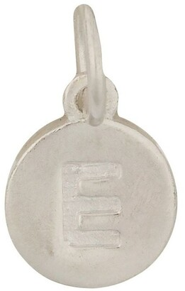 Mocha Round Plate Letter Sterling Silver Charm - E
