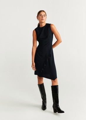 MANGO Ruffled detail dress black - 2 - Women