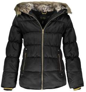 Jessica Simpson Girl's Faux Fur-Trim Hooded Puffer Coat
