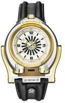 GV2 Gv2 Triton Two Tone Ipyg Case White Dial Brown Leather Strap Gv2 Watch.