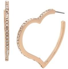 Jessica Simpson Stone Heart Hoop Earrings