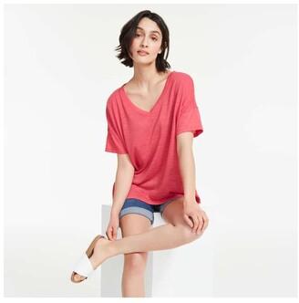 Joe Fresh Women's Wide V-Neck Tee, Bright Red (Size L)