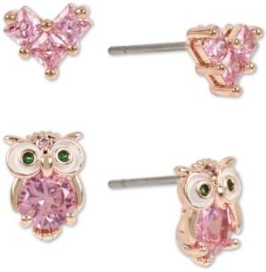 Betsey Johnson Rose Gold-Tone 2-Pc. Set Crystal Owl & Heart Stud Earrings