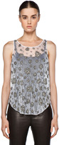 Theyskens' Theory Freed Embroidery Cider Tank in Fancy White