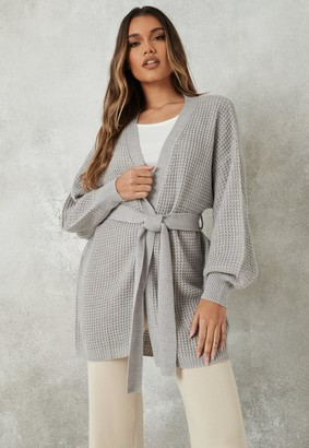 Missguided Grey Belted Balloon Sleeve Knitted Cardigan