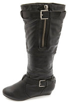 Bamboo Belted Knee-High Sliver Wedge Boots