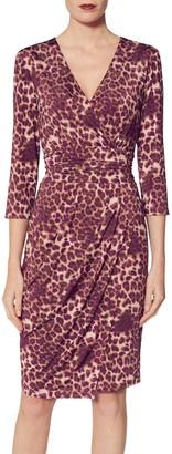 Gina Bacconi Nikoleta Leopard Wrap Dress, Magenta