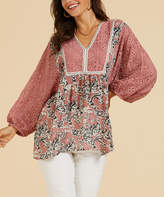 Suzanne Betro Weekend Women's Tunics 101ROSE - Rose Pink Sheer Lace-Sleeve Tunic - Women