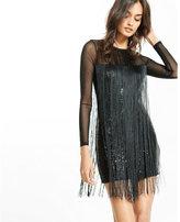 Express fringe sequin mini dress