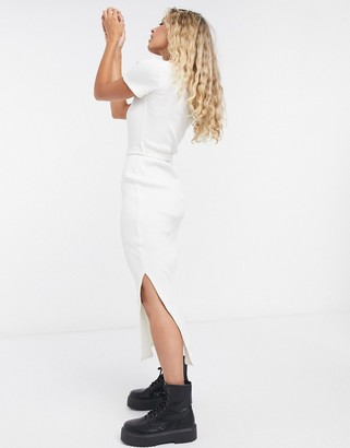 Topshop square neck midi dress in cream