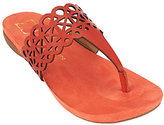 As Is Liz Claiborne New York Leather Sandals with Cut-Out Design