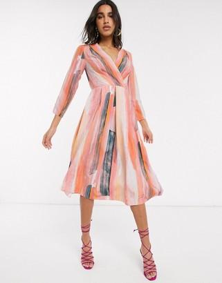 Closet London wrap midi dress in stripe print