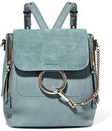 Chloé Faye Small Leather And Suede Backpack - Blue