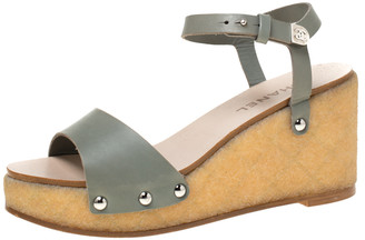 Chanel Grey/Beige Leather Ankle Strap Platform Wedge Sandals Size 41