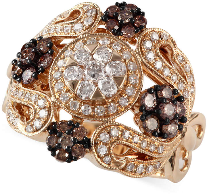 Effy Espresso by Brown (1/2 ct. t.w.) and White Diamond (1/2 ct. t.w.) Ornate Ring in 14k Gold