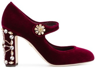 Dolce & Gabbana jewel-embellished Mary-Jane pumps