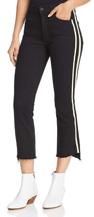 Mother Insider Striped Crop Step-Hem Fray Jeans in Guilty Racer
