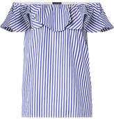 MDS Stripes - Off-the-shoulder Ruffled Striped Cotton-poplin Top - Blue