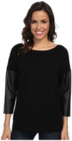 Calvin Klein Crew Sweater w/ Faux Leather Sleeves