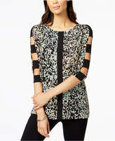 JM Collection Printed Lattice-Sleeve Tunic, Created for Macy's