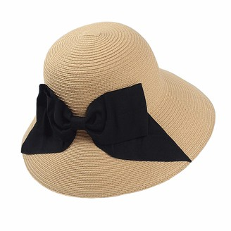 Everkeen Bowknot Sun Hat for Women Summer Wide Brim Straw Hat Ladies Foldable Floppy Beach Hat Beige