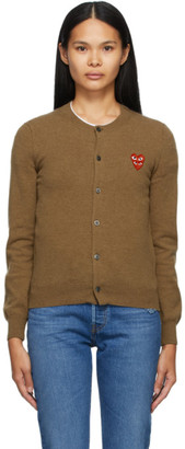 Comme des Garcons Brown Wool Layered Double Heart Cardigan