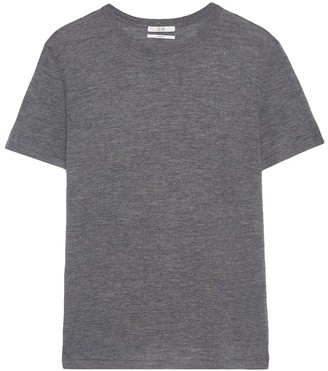 Co Cashmere Short Sleeve Knit Top in Grey
