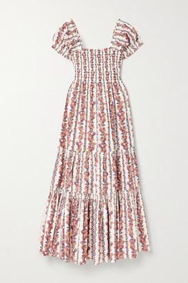 Tory Burch - Smocked Floral-print Cotton-blend Midi Dress - Orange