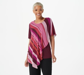 Susan Graver Liquid Knit Top with Printed Woven Overlay