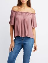 Charlotte Russe Pleated Off-The-Shoulder Top