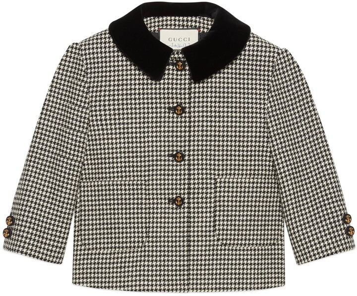 Gucci Petit houndstooth wool jacket with bow