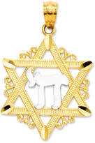 Macy's 14k Gold and Sterling Silver Charm, Star of David Charm