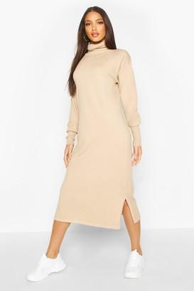 boohoo Premium Knitted Roll Neck Maxi Dress